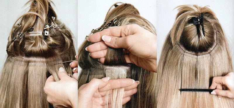 методы наращивания волос ленточное