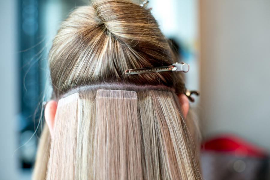 наращивание на короткие волосы ленточный способ